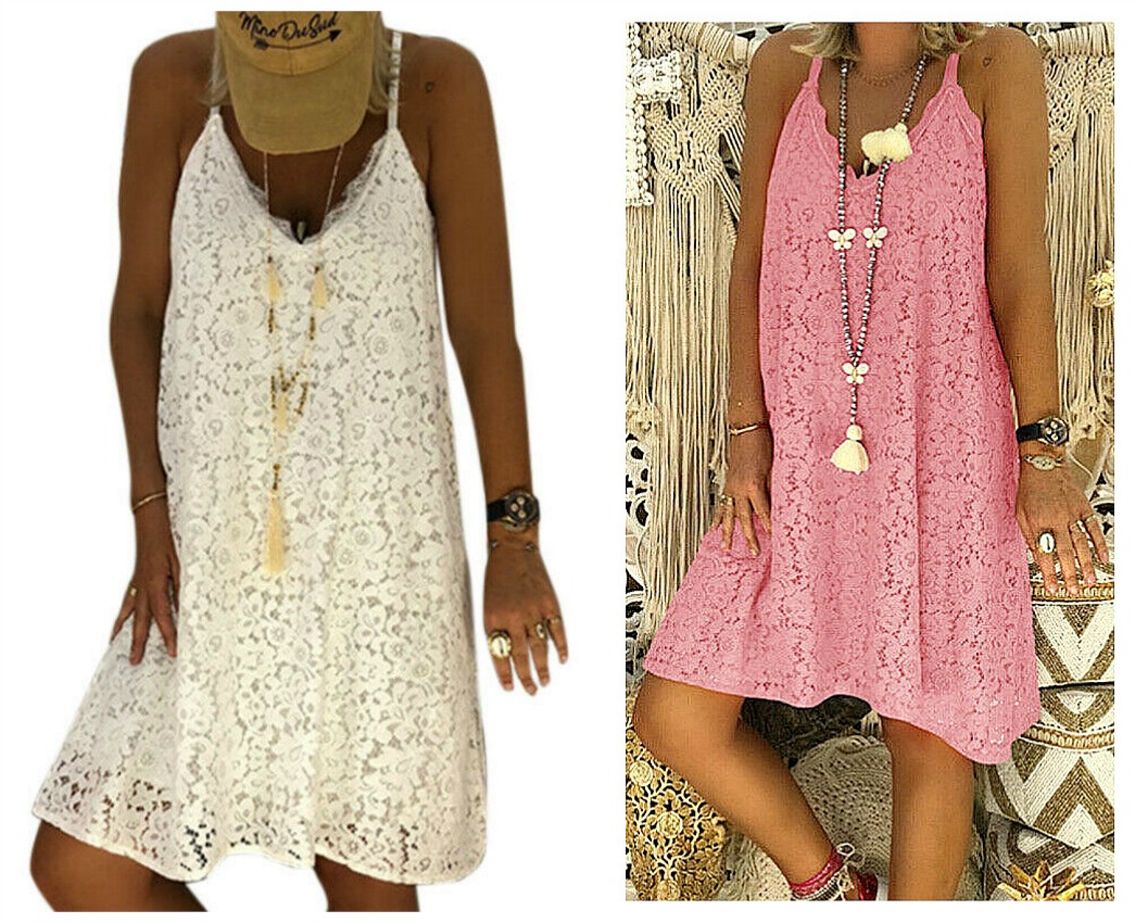 BEACH DESTINY DRESS Pink or White Sleeveless Lace Racerback Summer Boho Dress S-2X 2 COLORS!