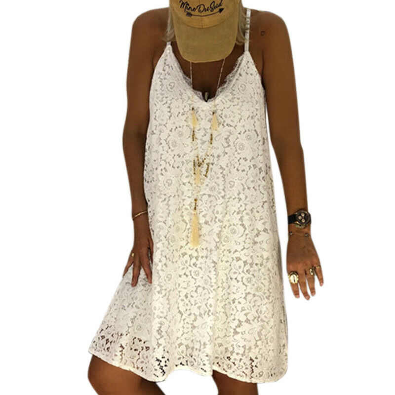 BEACH DESTINY DRESS White Sleeveless Lace Racerback Summer Boho Dress LAST ONE M/L