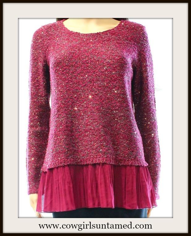 COWGIRL GLAM SWEATER Burgundy Pink Chiffon Hem Designer Sequin Designer Sweater