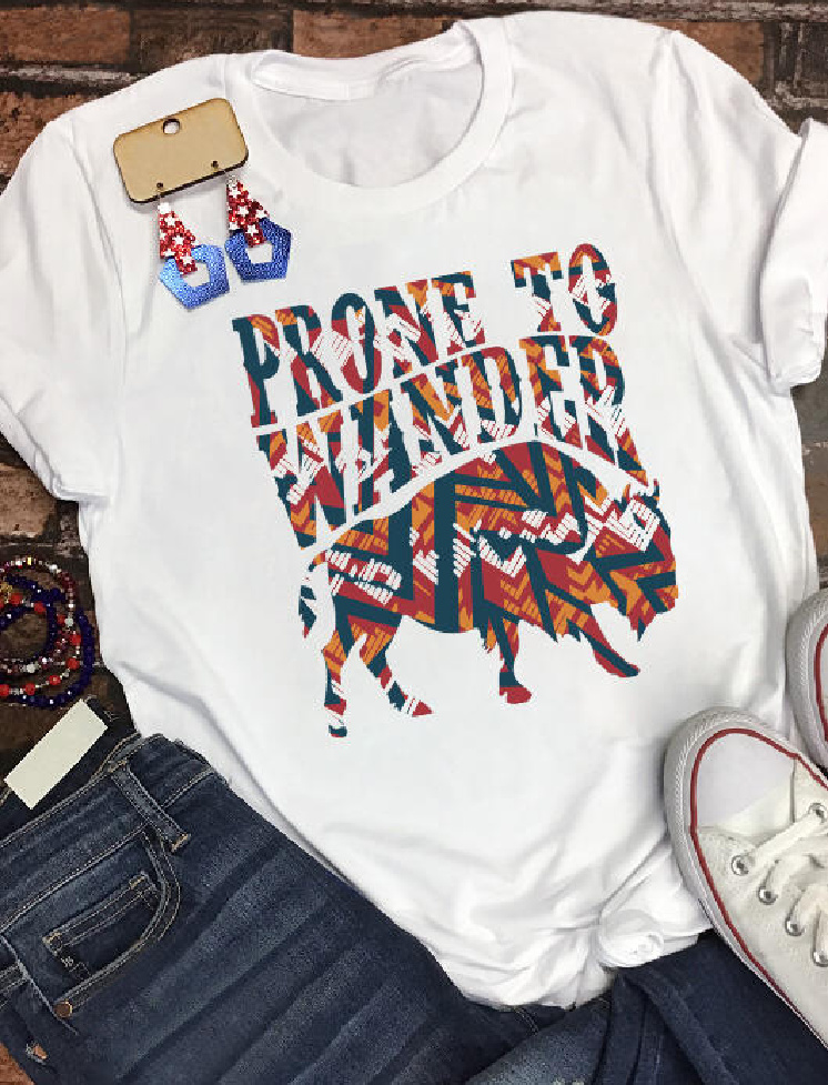 """THE WANDERER TEE """"Prone To Wander"""" Orange Red Teal Western Roaming Buffalo White T-Shirt S-L"""