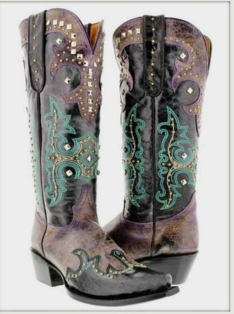 WESTERN COWGIRL BOOTS Turquoise Embroidery Silver Studded on Purple GENUINE LEATHER Tall Cowgirl Boots SIZES 5-11
