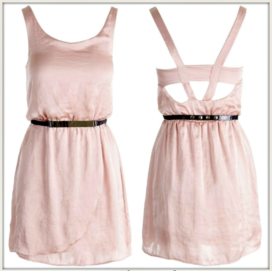 TOUCH OF GLAM DRESS Peach Satin Sleeveless Open Back Lined Mini Dress FREE BELT