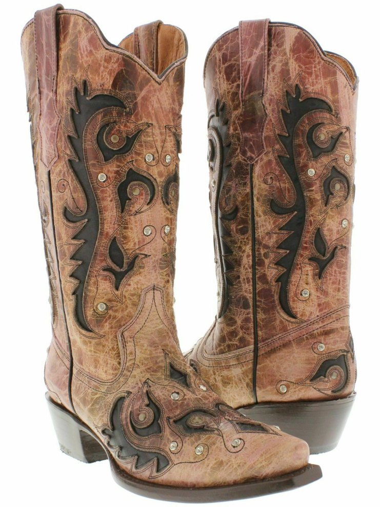 RHINESTONE COWGIRL BOOTS Pink & Brown Crystal  N' Bronze Studded Embroidered Inlay GENUINE LEATHER Womens Boots