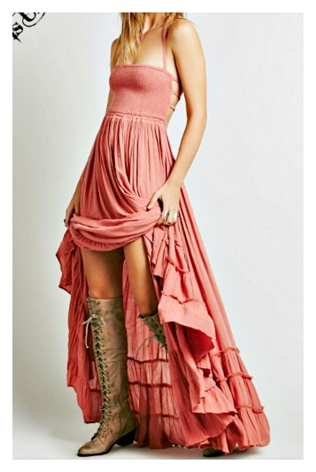 WILDFLOWER DRESS Coral Smocked Front Open Strappy Tiered Vintage Style Boho Maxi Dress  LAST ONE  S/M