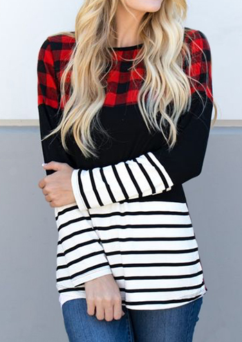 GO PLAID OR GO HOME TOP Black & White Stripe Red Plaid Mixed Pattern Long Sleeve Top S-XL