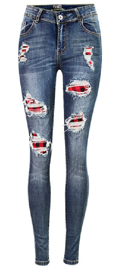GO PLAID OR GO HOME JEANS Dark Wash Distressed Stretchy Skinny Jeans With Red Plaid Print Insets S-L