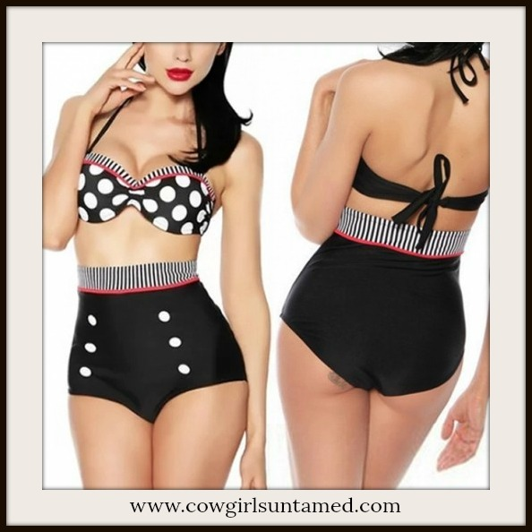 COWGIRL PINUP BIKINI Retro High Waist Polka Dot Bandeau Bra Swimsuit