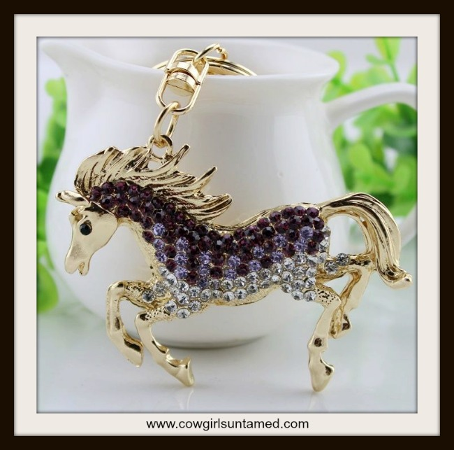 HORSE LOVIN' COWGIRL KEYCHAIN Beautiful Purple Horse Crystal Keychain charm