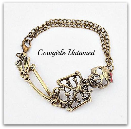 COWGIRLS ROCK BRACELET Vintage Clasp Chained Cute Skeleton Bow Bracelet