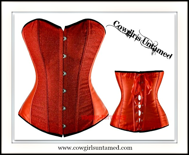 CORSET - Red Glitter Lace Up Back Boned Corset Top