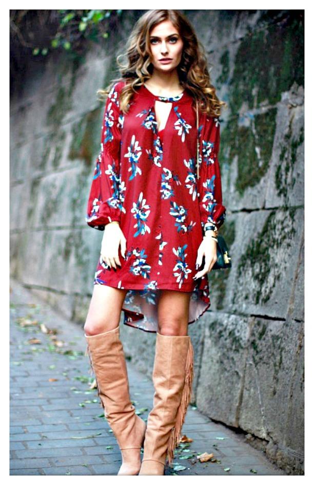 boho dress and boots