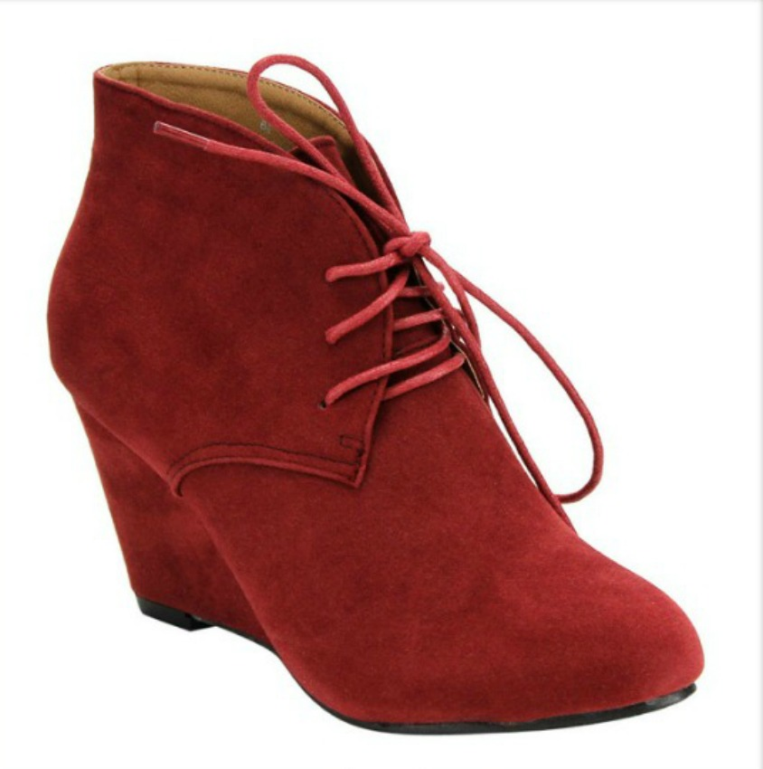 VINTAGE BOOTIES  Lace Up Wine Faux Suede Vintage Style Wedge Ankle Booties