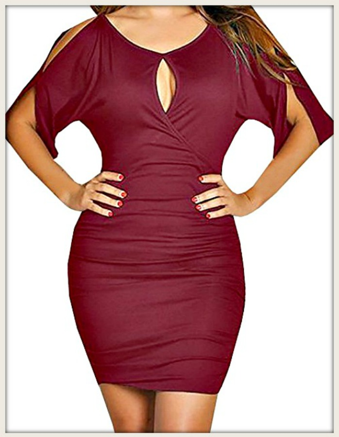 COWGIRL GLAM DRESS Red 3/4 Slit Sleeve Ruched Faux Wrap Bodycon Keyhole Dress