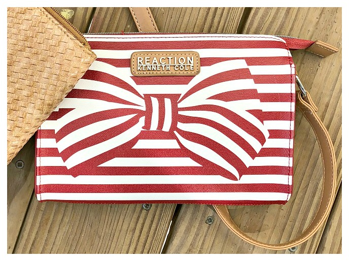 KENNETH COLE HANDBAG Red & White Striped Bow Leather Crossbody Bag LAST ONE!