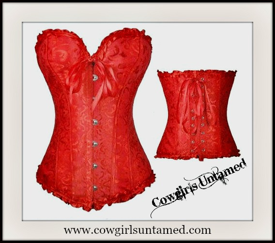 CORSET - Red Jacquard Satin Ruffle Trim Lace Up Back  Western Corset Top
