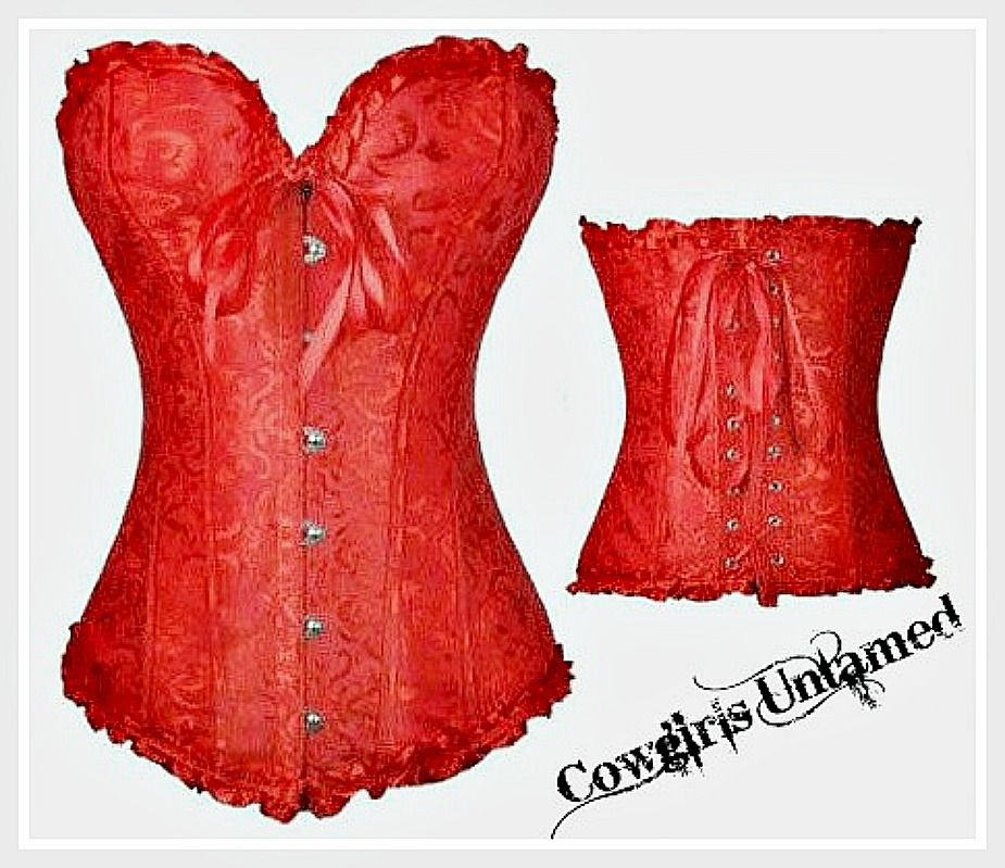 CORSET - Red Jacquard Satin Ruffle Trim Lace Up Back Corset Top  S & M in STOCK