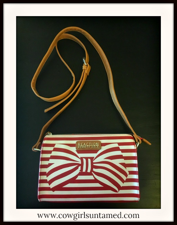 DESIGNER HANDBAG Red & White Striped Bow Leather Crossbody Bag