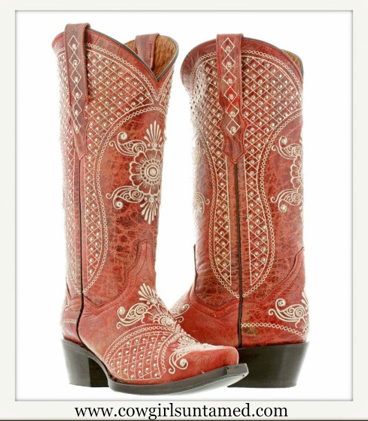 WILDFLOWER BOOTS Silver & Rhinestone Studded Floral Pattern Red Leather Cowgirl Boot SIZES 5.5-10
