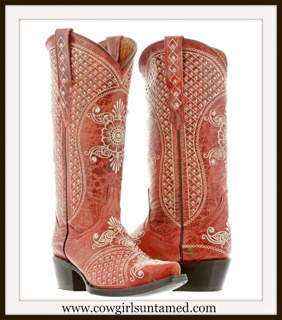 WILDFLOWER BOOTS Silver & Rhinestone Studded Floral Pattern Red Leather Cowgirl Boot