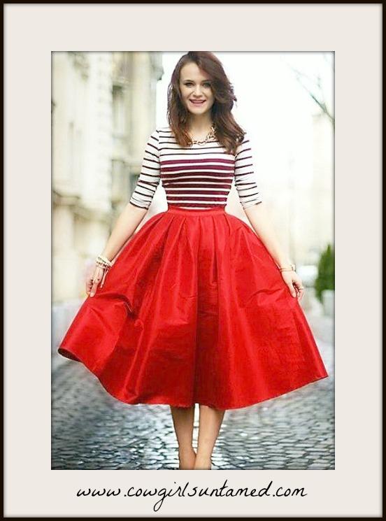 GOING GLAM SKIRT Red Taffeta Midi Full Skirt