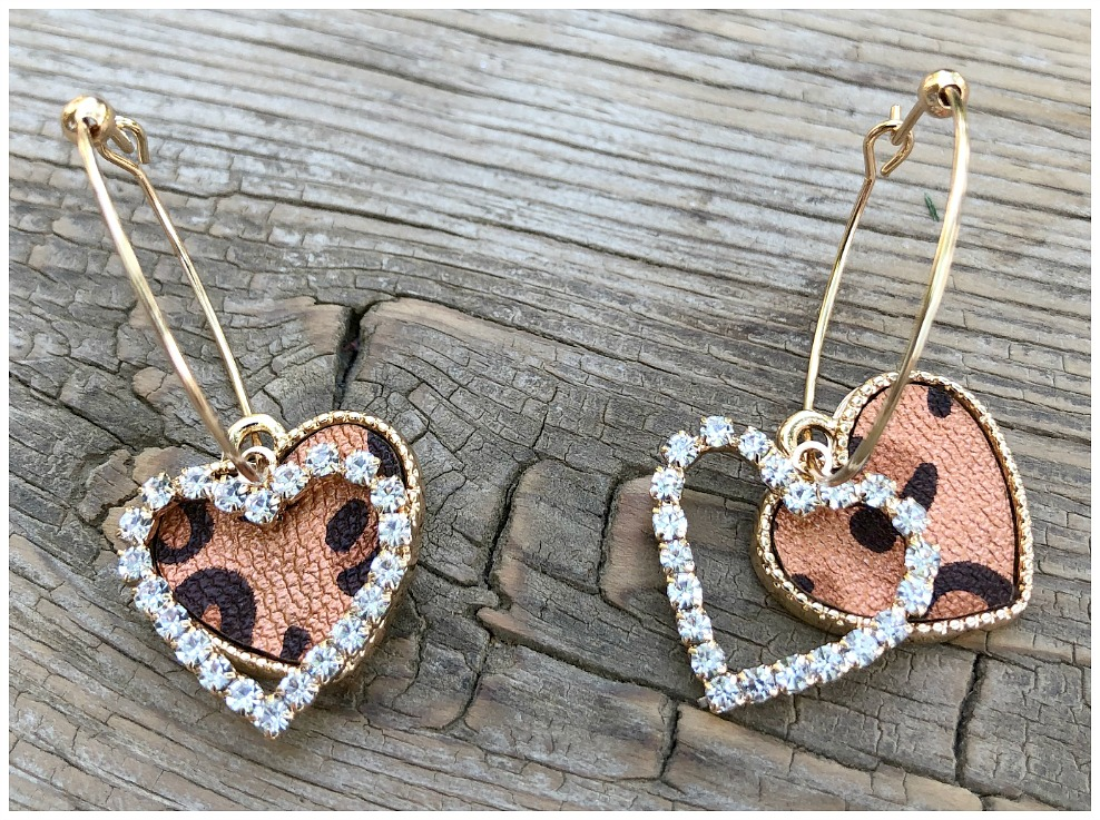 WILD HEART EARRINGS Copper Black Leopard Heart Rhinestone Gold Hoop Dangle Earrings