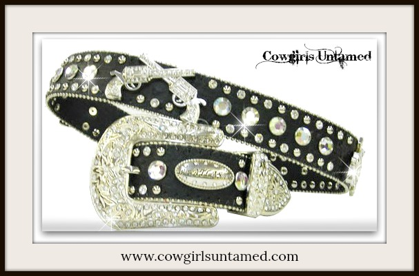 COWGIRL BELT Silver Crystal Sixshooter Rhinestone Studded Black Leather Belt