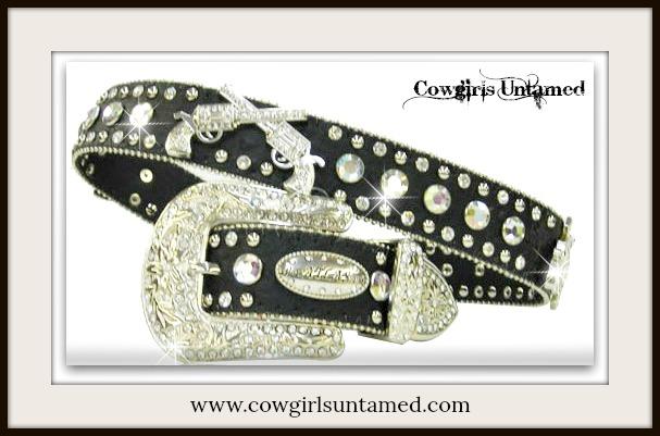 COWGIRL BELT Silver Crystal Sixshooter Rhinestone Studded Black Leather Belt