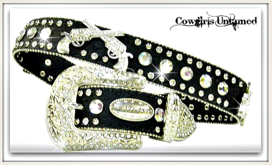 PACKIN' PISTOLS BELT Silver Crystal Sixshooter Rhinestone Studded Black Leather Belt