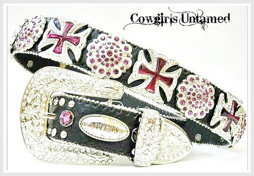 COWGIRL BELT Purple Crystal Concho & Cross Concho with Silver Rhinestone Buckle on Black Western Belt LAST ONE Large