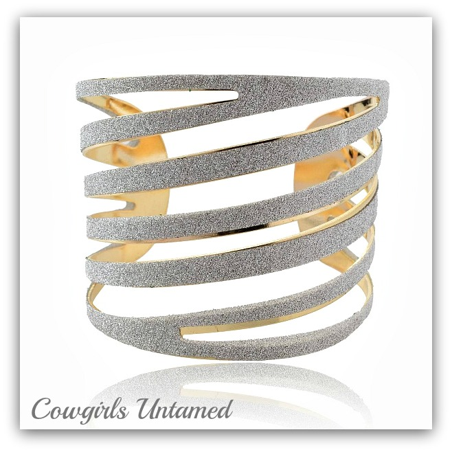 COWGIRL GLAM BRACELET Sparkle Glitter Gold Plated Cuff Bracelet