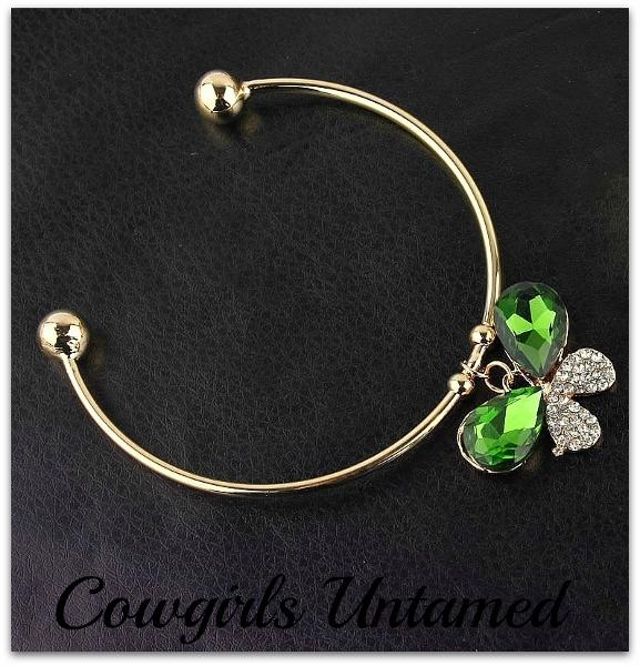 SOUTHERN BELLE BRACELET Green Butterfly on Gold Bangle Bracelet