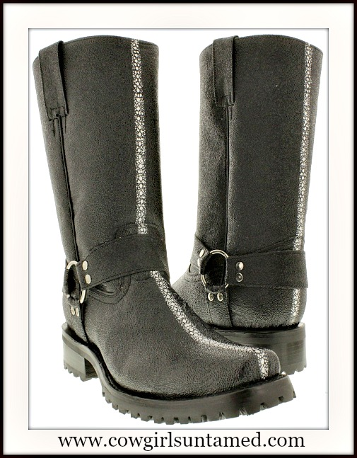 COWBOY BOOTS Mens Black Stingray Leather Biker Motorcycle Western Boots with Harness