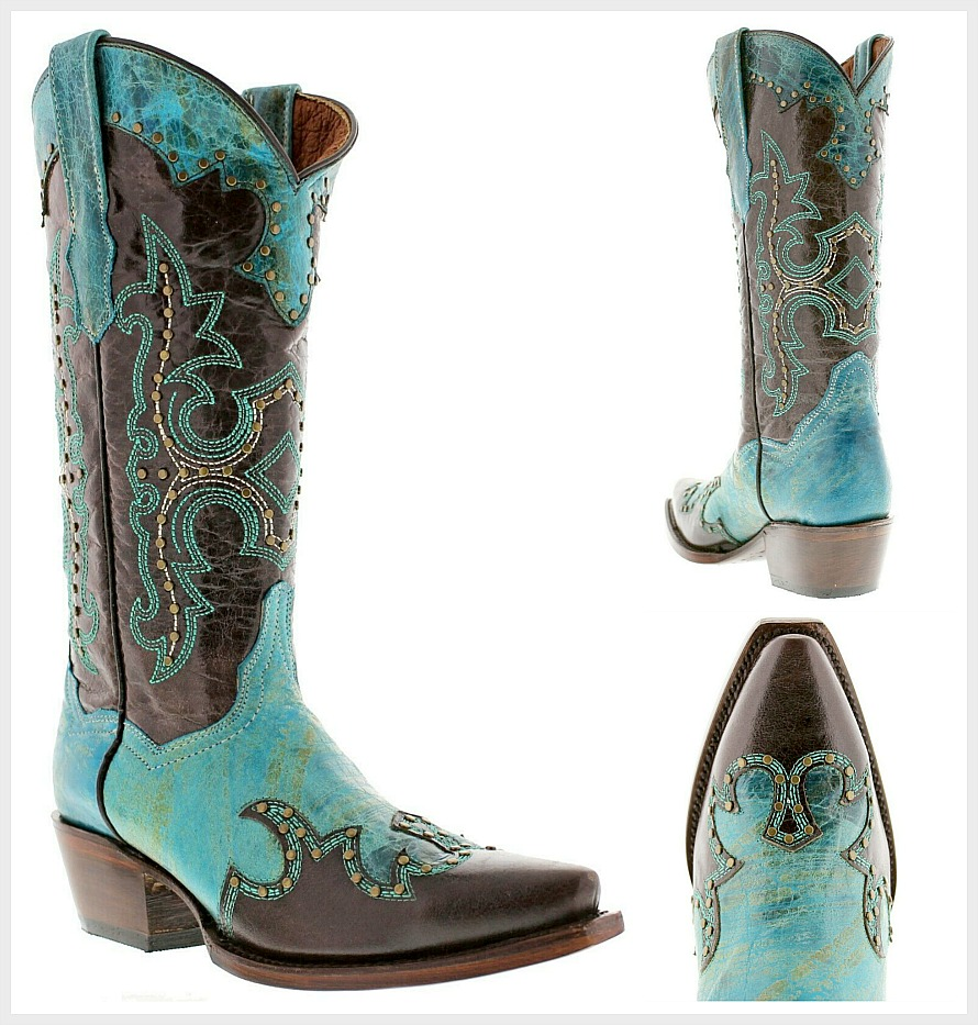 COWGIRL STYLE BOOTS Bronze Studded & Embroidered Brown Turquoise Boots SIZES 5-11