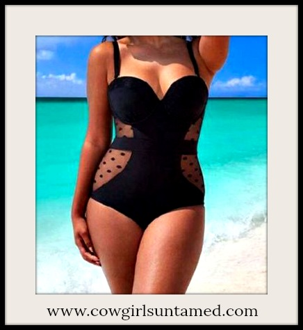 COWGIRL GLAM SWIMSUIT Black Polka Dot Mesh Push Up Underwire PLUS SIZE Bathing Suit