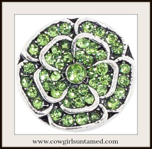 SNAP ON BUTTON CHARMS Green Crystal & Silver Flower Charms