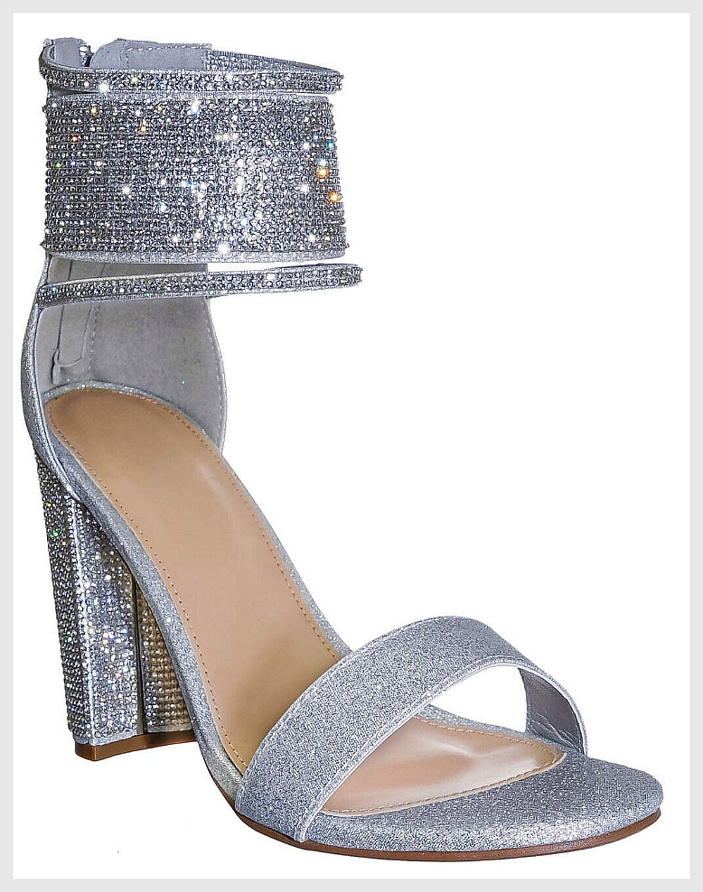 OH SO GLAM SHOES Rhinestone Strappy Sexy Silver Chunky Heels