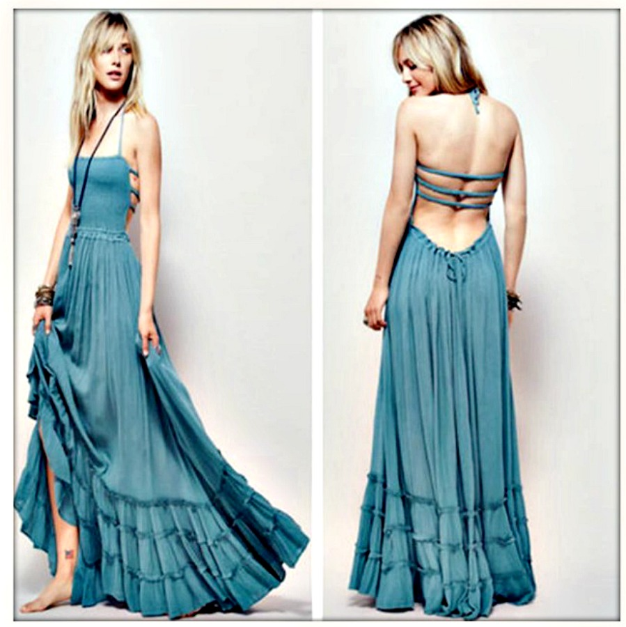 WILDFLOWER DRESS Blue Smocked Front Strappy Vintage Style Boho Tiered Maxi Dress