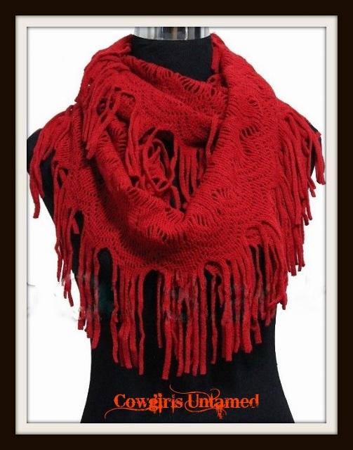COWGIRL GYPSY SCARF Super Comfy Soft Red Fringe Boho Infinity Scarf