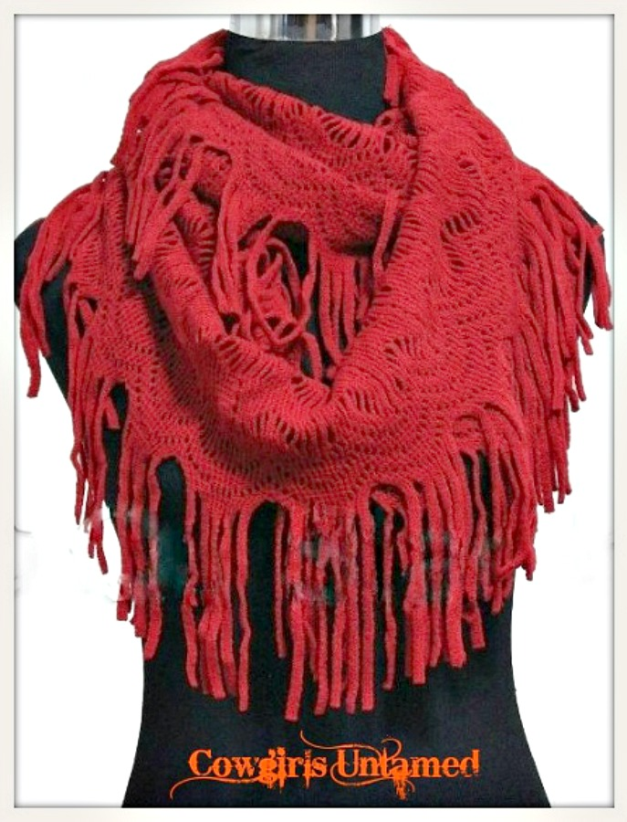 ON the FRINGE SCARF Super Comfy Soft Red Fringe Boho Infinity Scarf