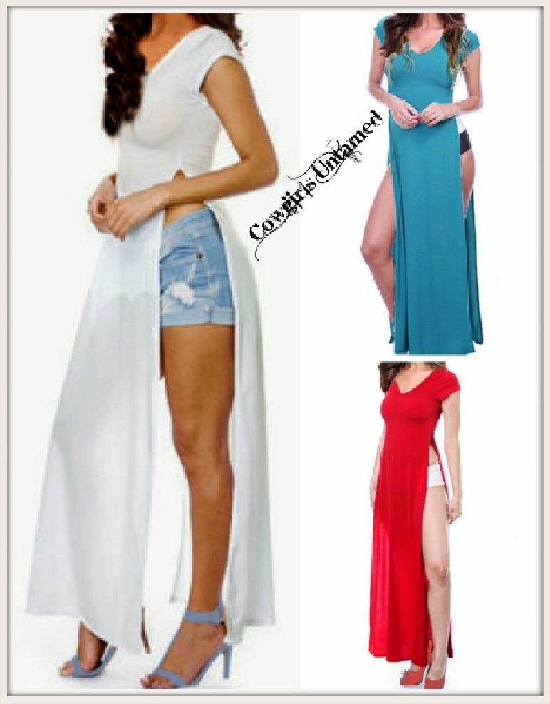 ROCK N ROLL TOP Short Sleeve Sexy Long Tunic Top with Slit  3 COLORS!