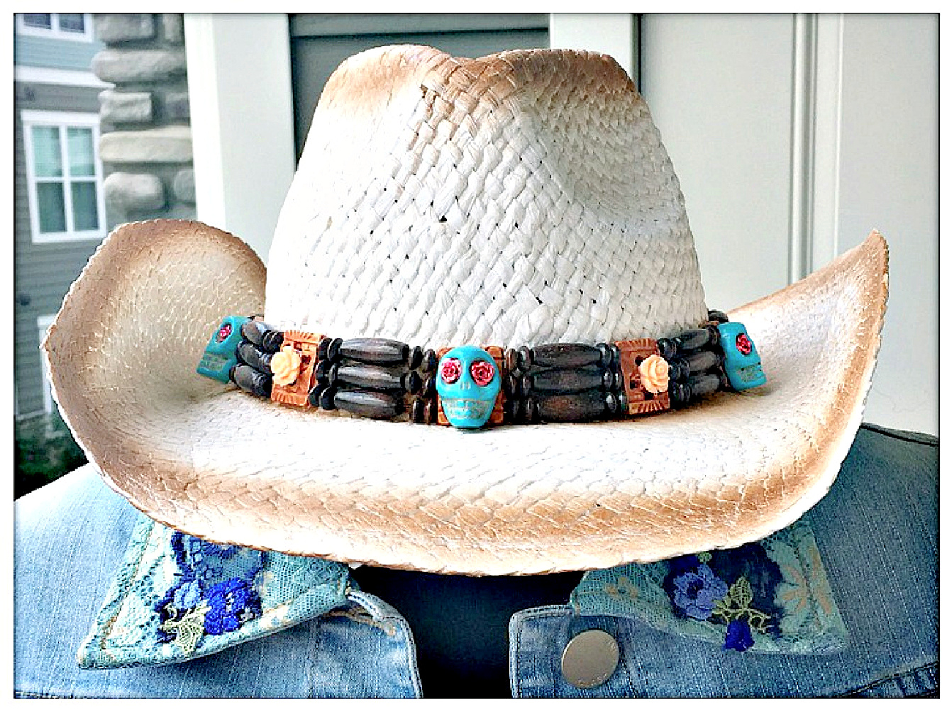 COWGIRL GYPSY HAT Custom Peach Rose Turquoise Skull Wood Headband on White Brown Aged Look Straw Cowgirl Hat