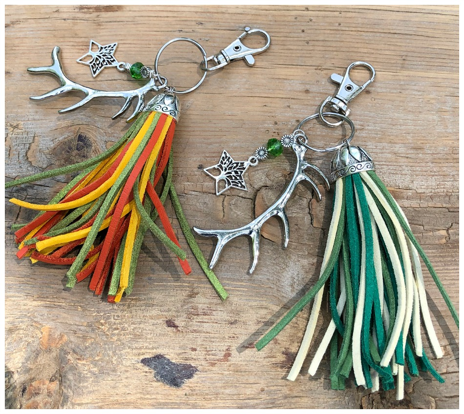 COWGIRL KEYCHAIN Silver Antler Charm Crystal Sunflower Tree of Life Star Handmade Tassel Key Chain Purse Accessory 2 COLORS