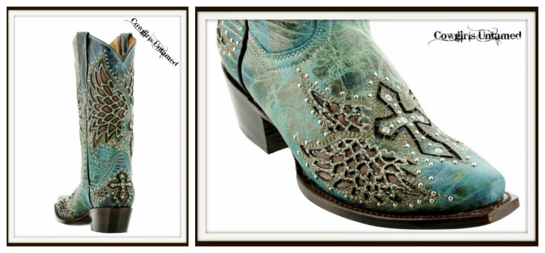 Rodeo Rebel Boots Teal N Turquoise Silver Rhinestone