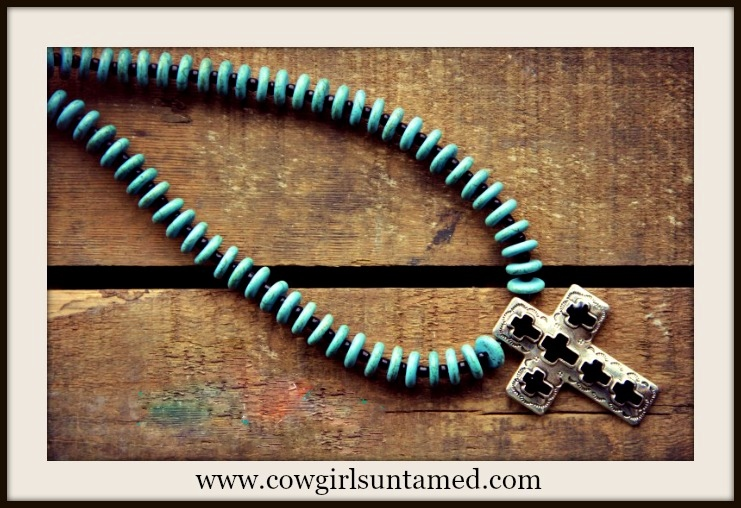 CHRISTIAN COWGIRL NECKLACE Black and Antique Silver Cross Turquoise Necklace