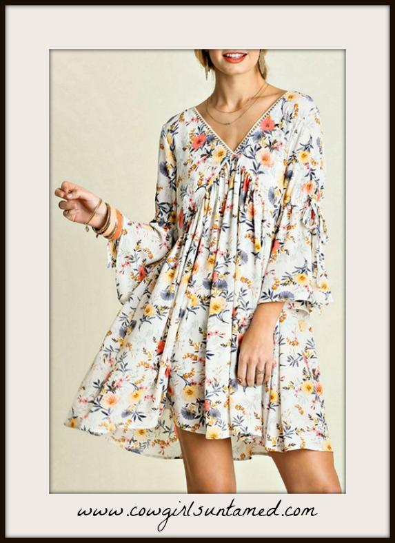 WILDFLOWER DRESS Yellow Floral Crochet Lace Slit Bell Sleeve Boho Mini Dress