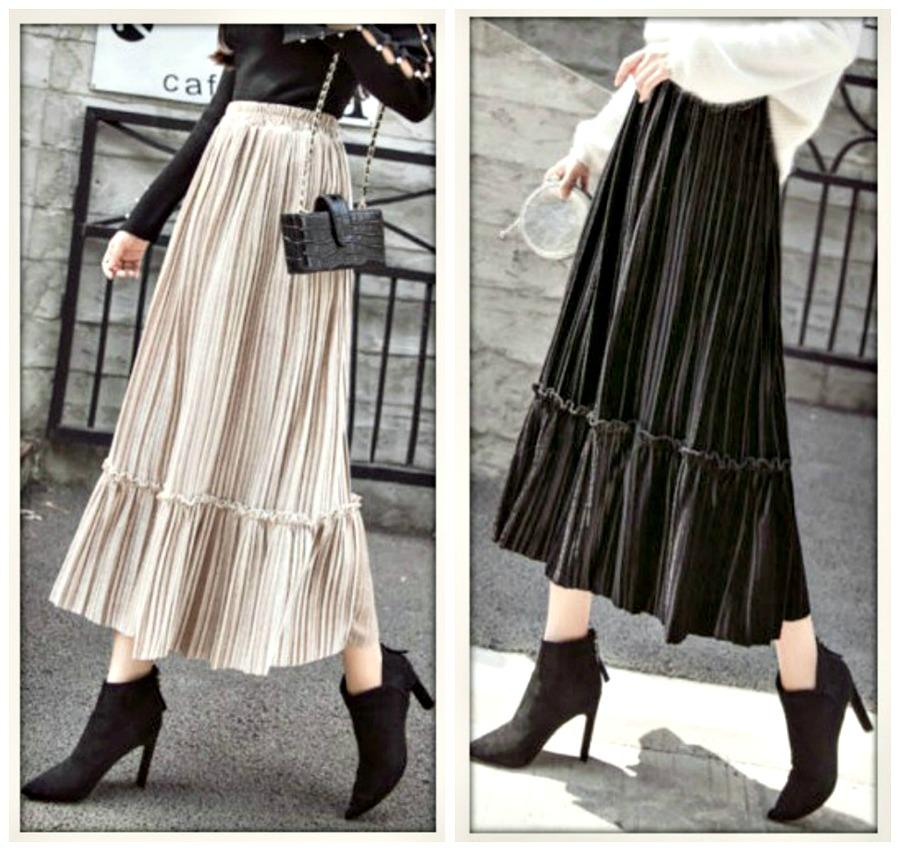 BOHO CHIC SKIRT Pleated Velvet Midi Skirt