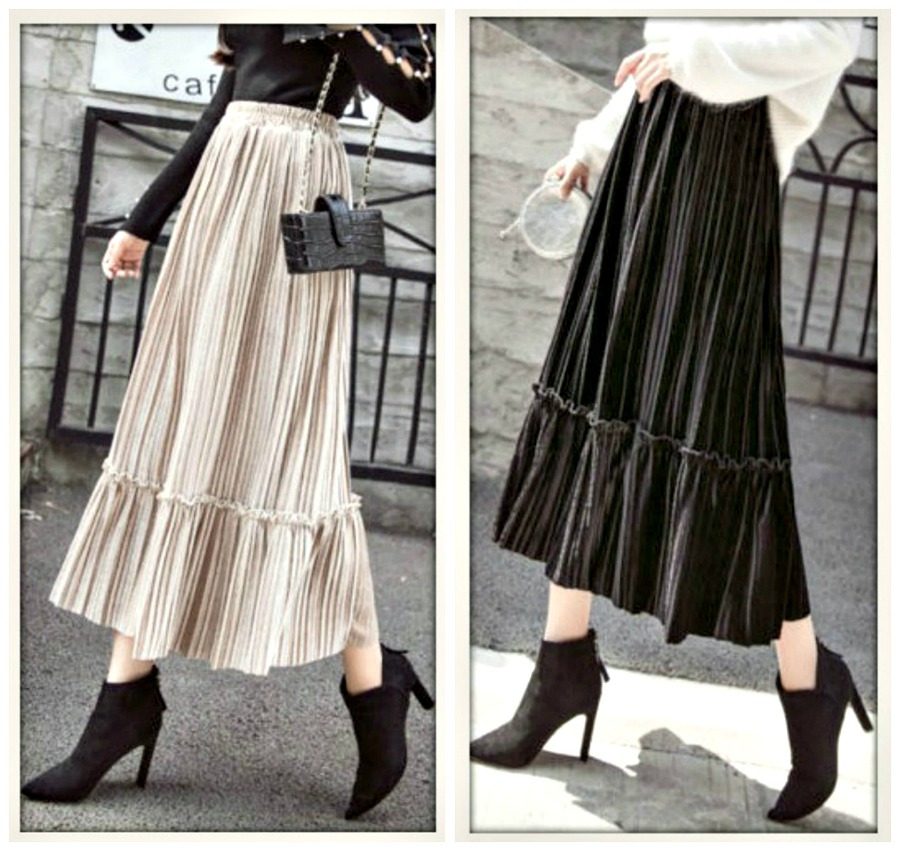 BOHO CHIC SKIRT Pleated Velvet Midi Skirt