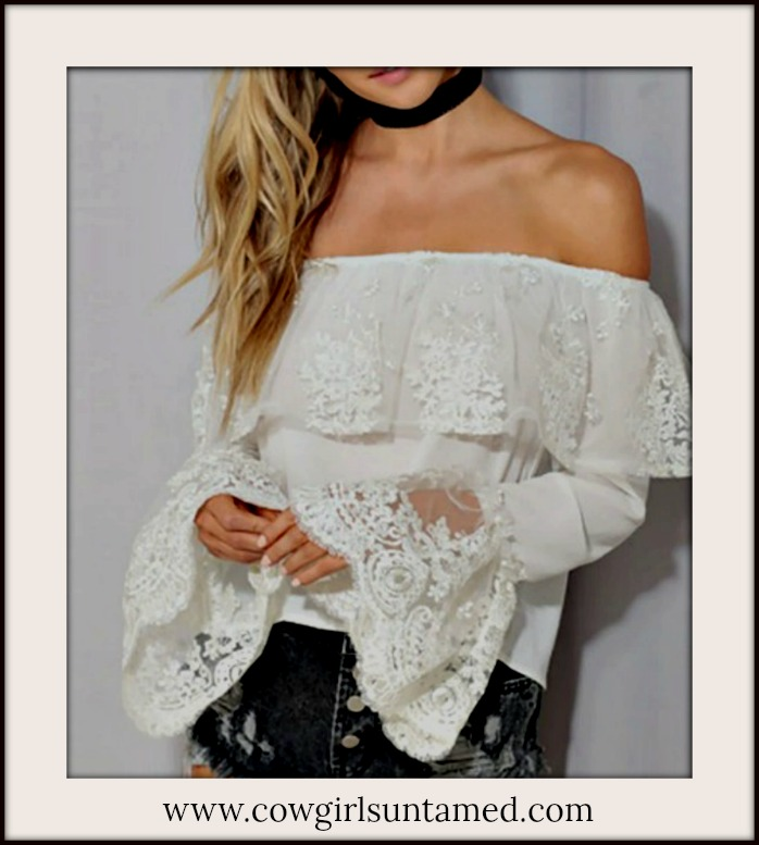 WILDFLOWER TOP White Lace Long Sleeve Off the Shoulder Boho Top