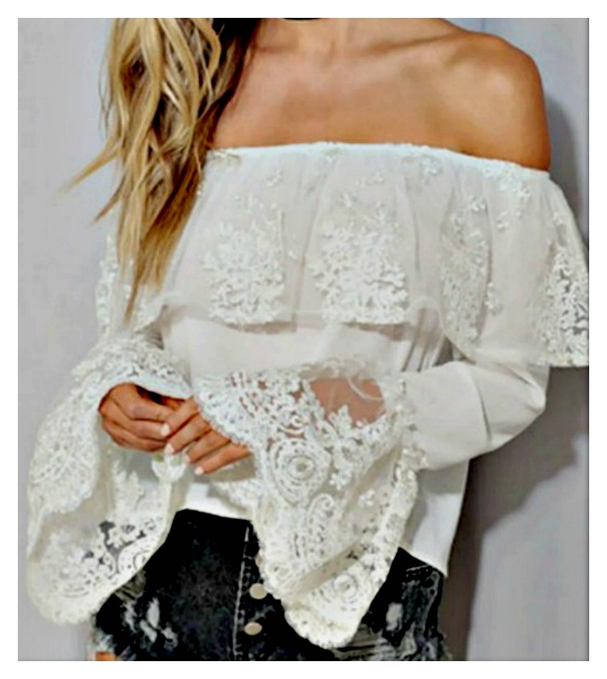 WILDFLOWER TOP White Lace Long Sleeve Off the Shoulder Boho Top LAST ONE ONE SIZE