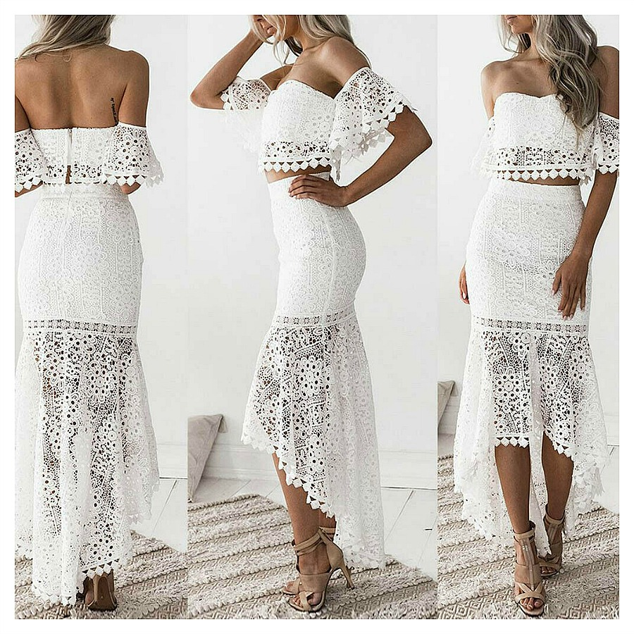 THE JOLENE SKIRT SET White Lace Off the Shoulder Crop Top High Low Skirt Set Sexy Dress S-XL